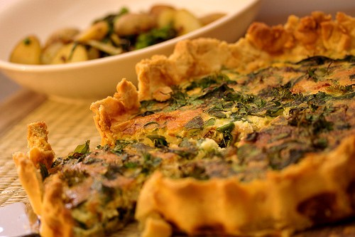 Crab & Spinach Tart and Norfolk Style New Potatoes with Peas & Samphire