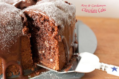 5 Minute Rose & Cardamom Chocolate Cake with Condensed Milk Chocolate Frosting