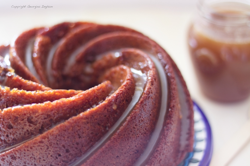 Spiced Honey Bundt with Salted Butterscotch Sauce